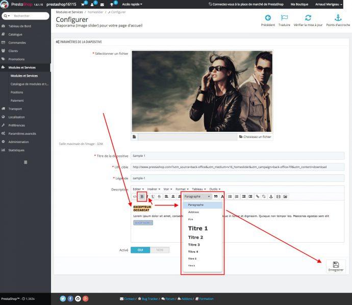 améliorer référencement prestashop 1.6 slider