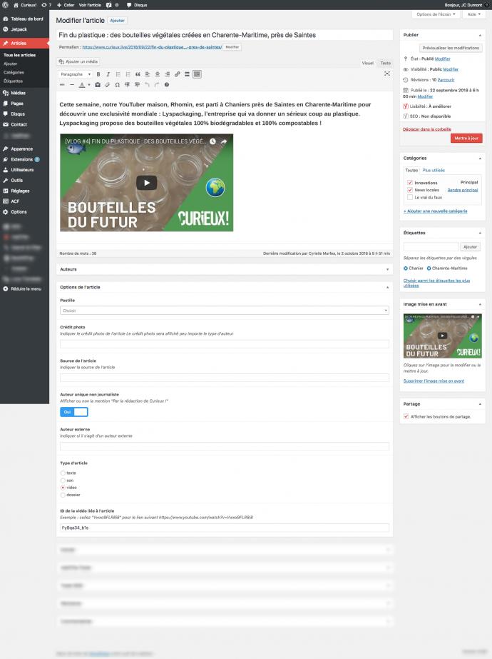 curieux projet wordpress admin