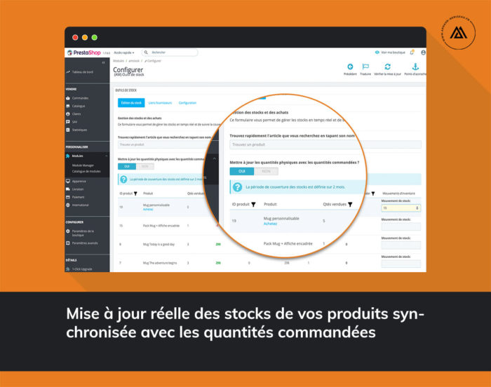 Module outil de stock et prévisions des achats pour PrestaShop 1.6 / 1.7 mise à jour