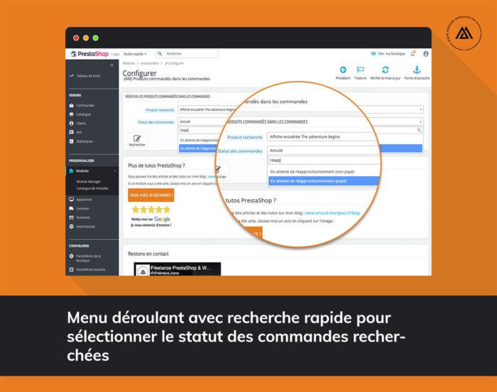 Module recherche produits par commande pour PrestaShop